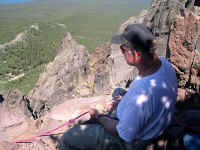 Jim, providing a fast and secure sitting hip belay.