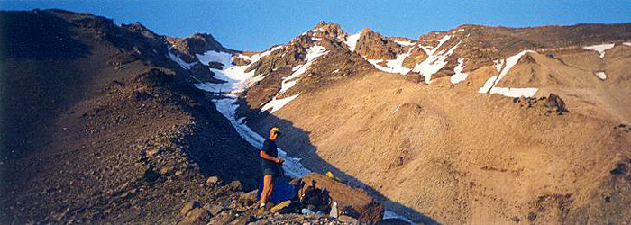 Bob bivied above Milk Creek Glacier on Mt. Jefferson