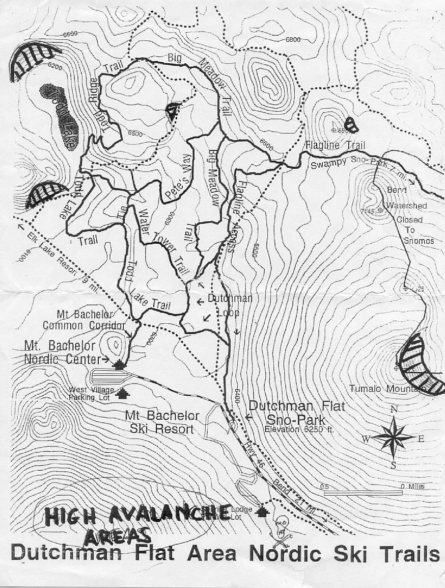 Map of known backcountry avalance slopes near Dutchman Flat