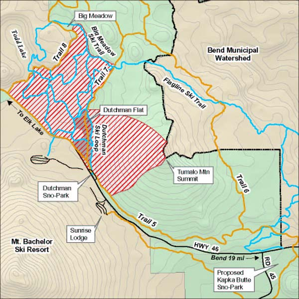 Map Of Snowmobile Use Restrictions At Dutchman Flat Near Bend Oregon