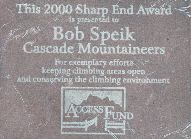 2000 Access Fund Sharp End Award to Robert Speik